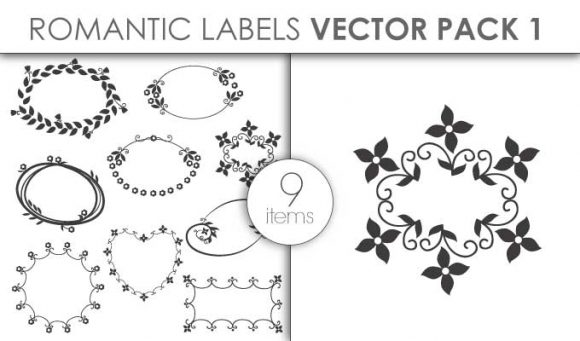 Vector Romantic Labels Pack 1 Vector packs vector
