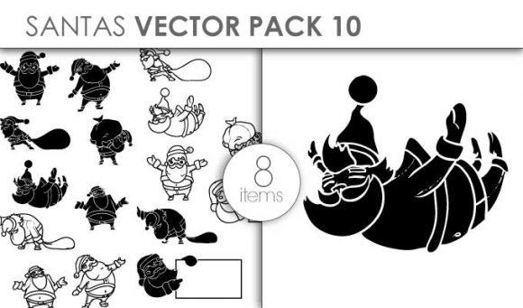 Vector Santas Pack 10 Vector packs vector
