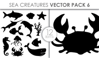 Vector Sea Creatures Pack 6 Vector packs vector