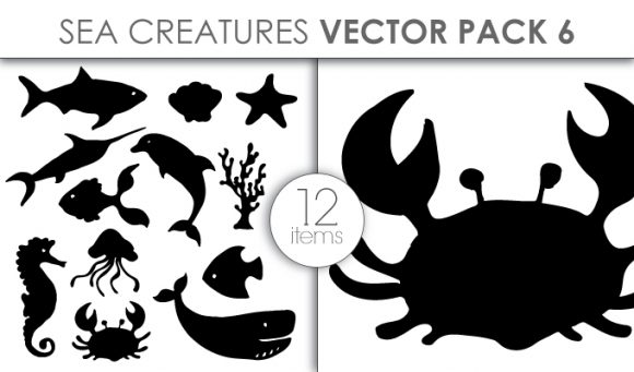 Vector Sea Creatures Pack 6 Vector packs vector