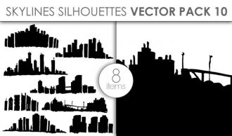 Vector Skylines Silhouettes Pack 10 Vector packs vector