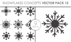 Vector Snowflakes Pack 12 Vector packs vector