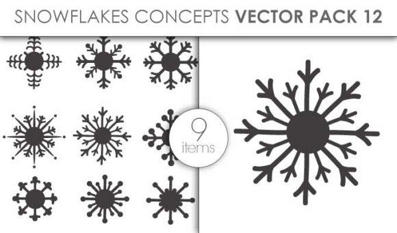 Vector Snowflakes Pack 12 Vector packs vector