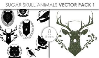 Vector Sugar Skull Animals Pack 1 Vector packs vector
