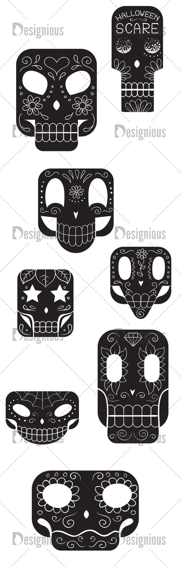 Vector Sugar Skulls Pack 2 6