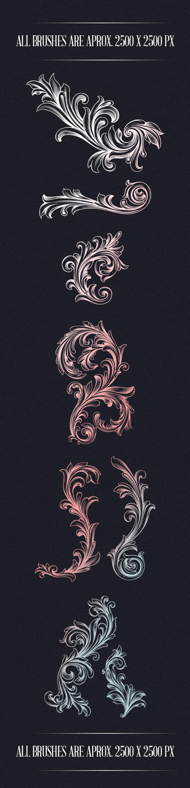 Engraved-Floral-Photoshop-Brushes designtn brushes floral large