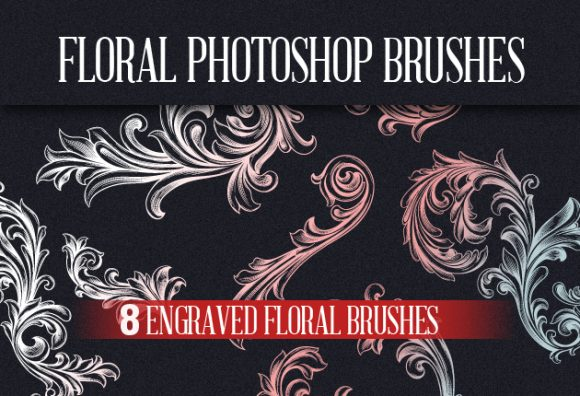 Engraved-Floral-Photoshop-Brushes designtn brushes floral small