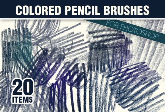 Colored-Pencils-Photoshop-Brushes designtnt brushes colored pencils small