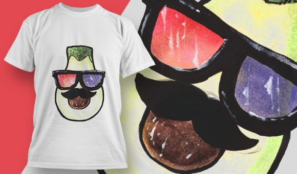 T-shirt Design 1797 – Avocado with 3D Glasses T-shirt Designs and Templates vector