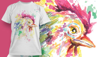 T-shirt Design 1803 – Rooster T-shirt Designs and Templates vector