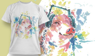 T-shirt Design 1805 – Pig with Headphones T-shirt Designs and Templates vector
