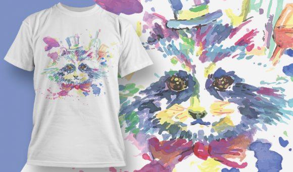 T-shirt Design 1810 - Racoon 1