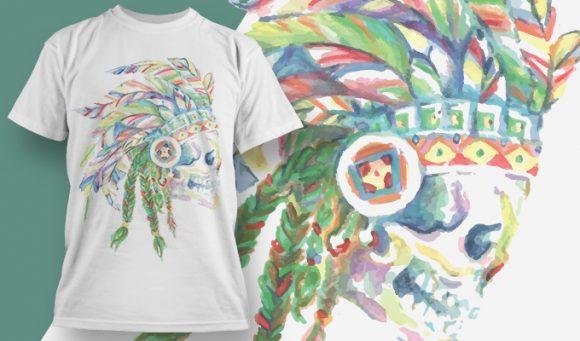 T-shirt Design 1814 - Skull with Indian Headdress designious tshirt design 1814