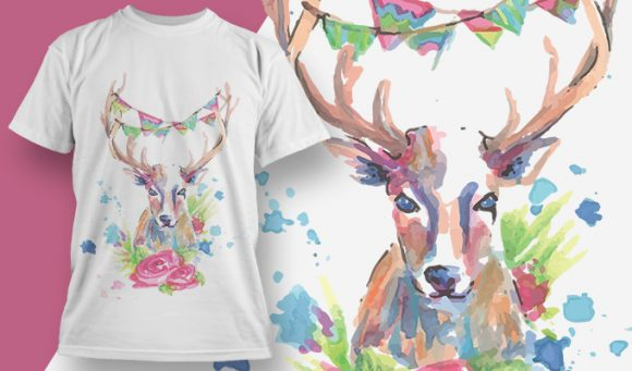 T-shirt Design 1815 - Deer designious tshirt design 1815