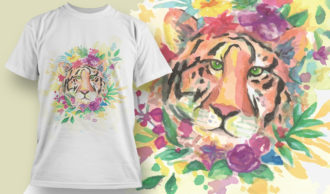 T-shirt Design 1823 – Tiger T-shirt Designs and Templates vector