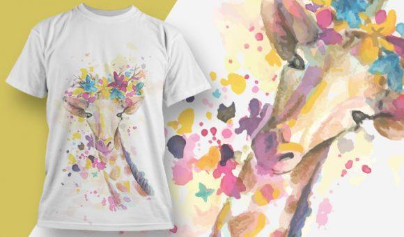 T-shirt Design 1824 - Giraffe designious tshirt design 1824