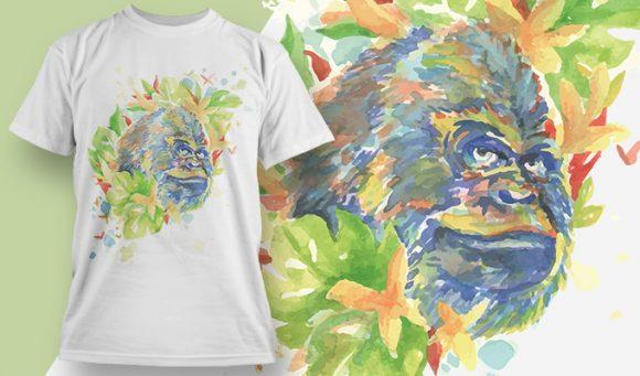 T-shirt Design 1827 - Gorilla designious tshirt design 1827