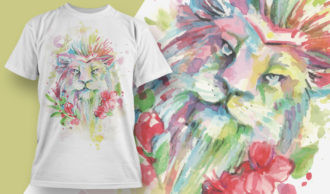 T-shirt Design 1829 – Lion T-shirt Designs and Templates vector