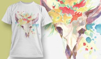 T-shirt Design 1830 – Bovine Skull T-shirt Designs and Templates vector
