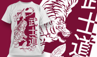 T-shirt Design 1836 – Way of the Samurai T-shirt Designs and Templates vector