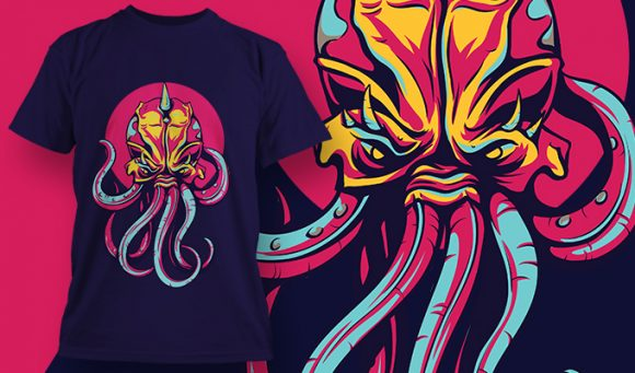 """"""" Colorful Octopus T-shirt design 1958 