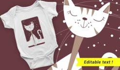 Free Cat T-shirt design 2055 T-shirt designs and templates vector