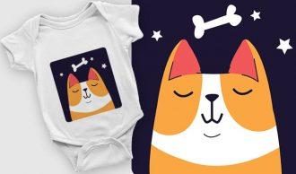Dreaming Corgi Dog – FREE T-shirt design 2082 T-shirt Designs and Templates vector
