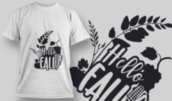 2124 Hello Fall 1 SVG Quote T-shirt designs and templates leaf