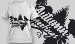 2135 Autumn Greetings SVG Quote T-shirt designs and templates tree