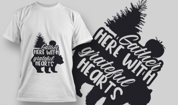 2136 Gather Here with Grateful Hearts SVG Quote T-shirt Designs and Templates tree