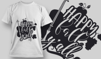 2141 Happy Fall Yall SVG Quote T-shirt Designs and Templates leaf