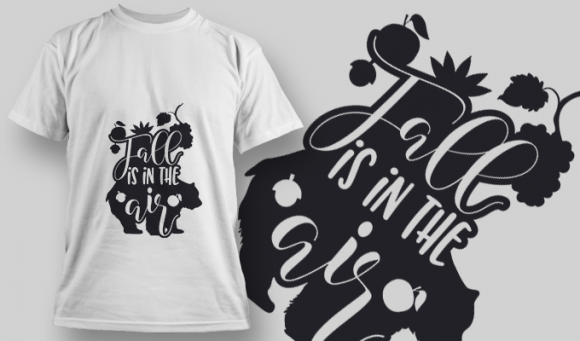 2145 Fall is in the Air SVG Quote T-shirt Designs and Templates leaf