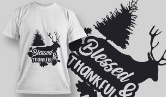 2149 Blessed & Thankful SVG Quote T-shirt Designs and Templates tree