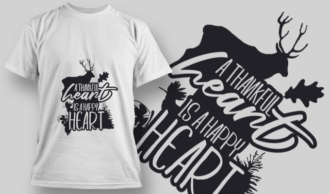 2154 A Thankful Heart is a Happy Heart 2 SVG Quote T-shirt Designs and Templates tree