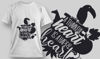 2155 A Thankful Heart is a Happy Heart 1 SVG Quote T-shirt Designs and Templates leaf