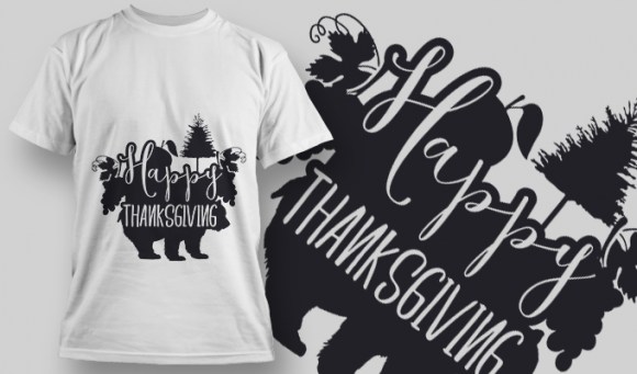 2159 Happy Thanksgiving 3 SVG Quote T-shirt Designs and Templates tree