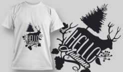 2179 Hello Autumn 3 SVG Quote T-shirt designs and templates tree