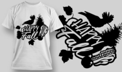 2189 Happy Fall 2 SVG Quote T-shirt designs and templates tree