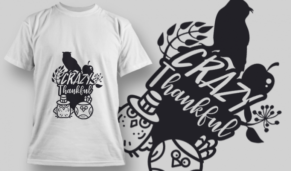 2205 Crazy Thankful SVG Quote T-shirt Designs and Templates leaf