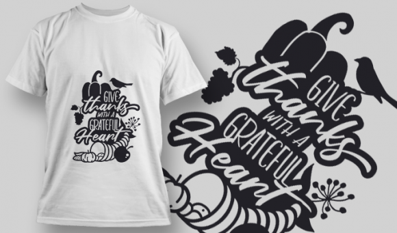 2207 Give Thanks with a Grateful Heart SVG Quote T-shirt Designs and Templates vector