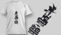 2228 Home Of The Witch And Her Little Devils T-Shirt Design T-shirt designs and templates vector