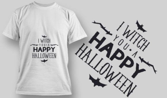 2230 I With You A Happy Halloween T-Shirt Design T-shirt Designs and Templates vector