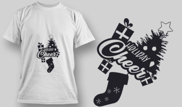 2258 Holiday Cheer T-Shirt Design T-shirt Designs and Templates vector