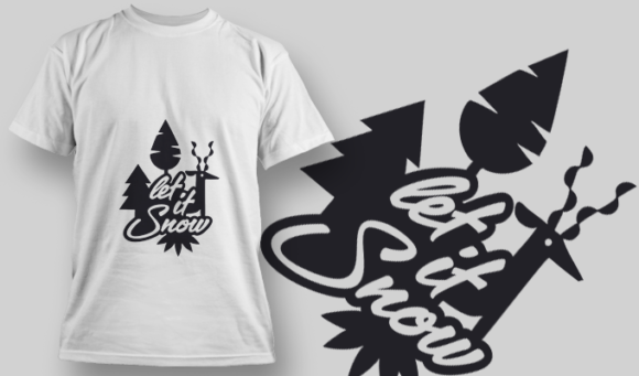 2266 Let It Snow 3 T-Shirt Design T-shirt Designs and Templates tree