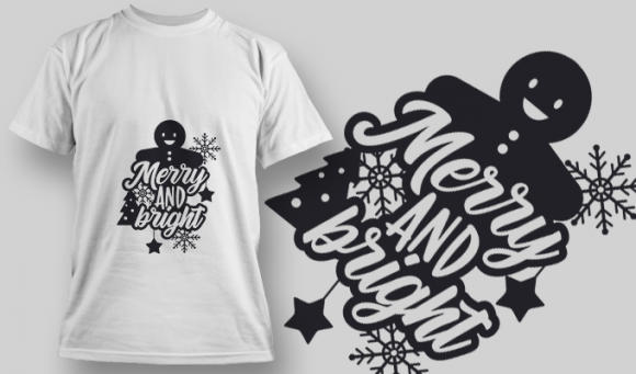 2272 Merry And Bright 2 T-Shirt Design T-shirt Designs and Templates star