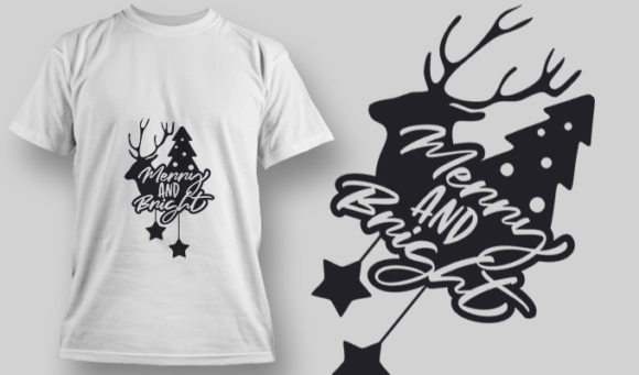 2274 Merry And Bright 4 T-Shirt Design T-shirt Designs and Templates star