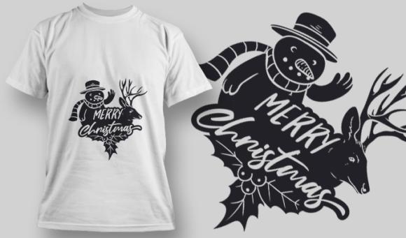 2277 Merry Christmas 2 T-Shirt Design T-shirt Designs and Templates vector