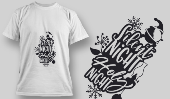 2287 Silent Night Holy Night T-Shirt Design T-shirt Designs and Templates vector