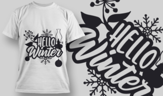 2312 Hello Winter T-Shirt Design T-shirt Designs and Templates vector