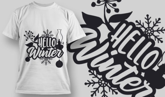 2312 Hello Winter T-Shirt Design T-shirt Designs and Templates vector